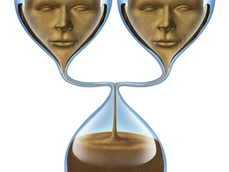 Aging group and getting old together as as a partner couple represented by an hourglass shaped as two human heads losing time and relationship isolated on a white background  health and  photo