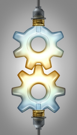 Business innovation partnership concept for new ideas with two  illuminated glass light bulbs in the shape of a gear or cog connected together as a collaboration team working for innovative creative success  photo