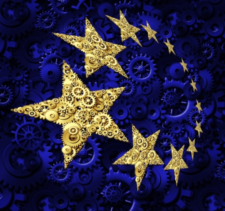 Europe industry and European Union economy business concept with a blue flag and yellow gold stars made of gears and cogs as a symbol of a working connected network from Germany France Italy and United Kingdom  photo
