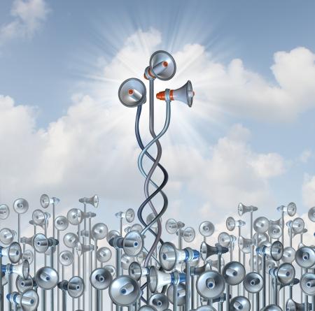 talents: Groupe notion de communication marketing avec une communaut� de m�gaphones avec trois d'entre eux viennent ensemble dans la collaboration des entreprises pour une voix commune se d�marquer de te pressent