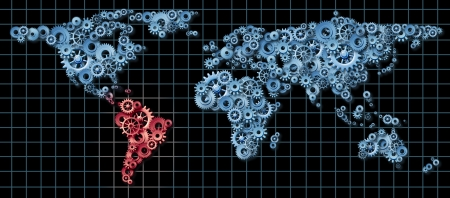 Latin America economy business concept with a world map made of gears and cogs highlighted in red as an idea of economic growth and financial success in countries as Brazil Argentina Chile Banco de Imagens