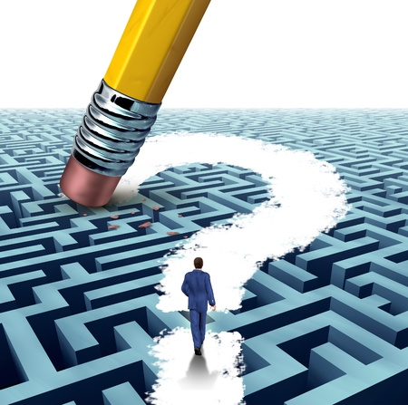 Leadership questions searching for solutions with a businessman walking through a complicated maze opened up by a pencil eraser question mark as a business concept of innovative thinking financial success