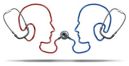 Medical communication with a group of doctor stethoscope equipment in the shape of two human heads connected together in a health care network for patient information exchange on a white background
