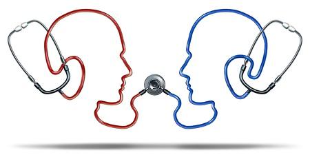 Medische communicatie met een groep van arts stethoscoop apparatuur in de vorm van twee hoofden van mensen met elkaar verbonden in een gezondheidszorg netwerk voor de patiënt informatie-uitwisseling op een witte achtergrond Stockfoto