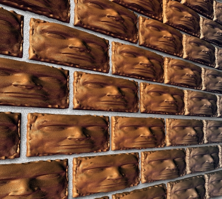 strong foundation: Solid organization as a business concept for a strong foundation based on group trust and leadership reliability with bricks shaped as a human head building a brick wall for stability  Stock Photo