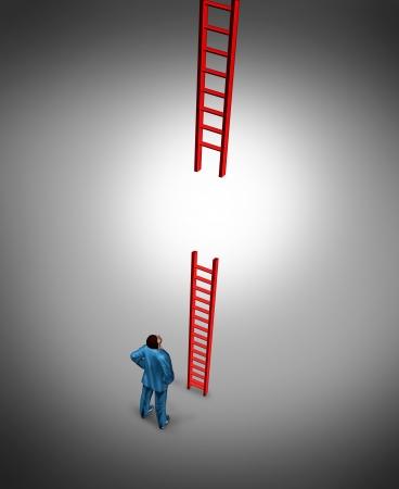 Succes problemen en geconfronteerd met een slechte break of pech als een business concept met een gebroken rode ladder met een ondernemer op zoek naar een oplossing voor de moeilijke uitdaging