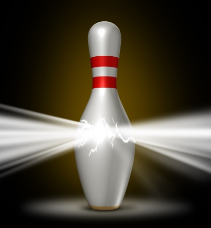 bowling pin: Bowling power with a single pin bursting with a glowing light of energy as a sports concept of confidence in using a planned competitive strategy for winning and success