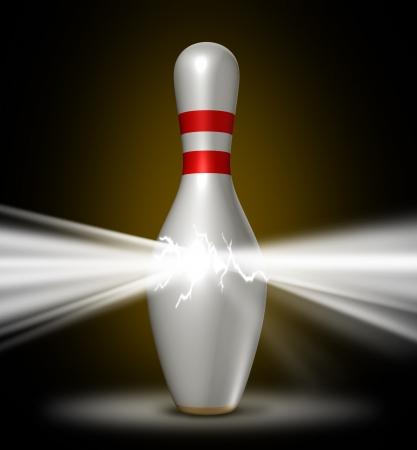 bolos: Poder Bowling con un solo pin lleno de una luz brillante de la energía como un concepto deportivo de confianza en el uso de una estrategia competitiva previsto para ganar y el éxito