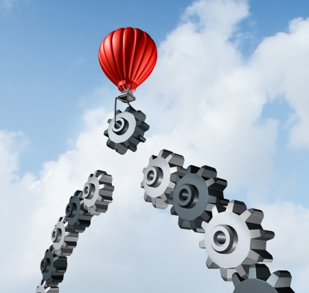 contruction: Business bridge building with a red hot air balloon lifting a gear up to the sky to construct and complete a bridged chain of cogs connected together as a result of strategy and planning for success  Stock Photo