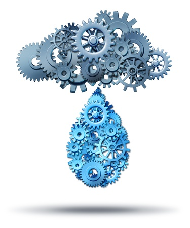 Cloud computing distribution technology concept with a group of gear and cog wheels connected together raining down a water drop shaped network of gears and cogs on a white background spreading internet digital media  photo