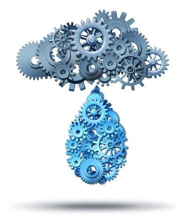 Concetto di cloud computing tecnologia di distribuzione con un gruppo di ingranaggi e ruote dentate collegate tra loro che piovono giù una goccia d'acqua di rete a forma di ingranaggi e ruote dentate su sfondo bianco diffusione internet dei media digitali Archivio Fotografico - 20235836