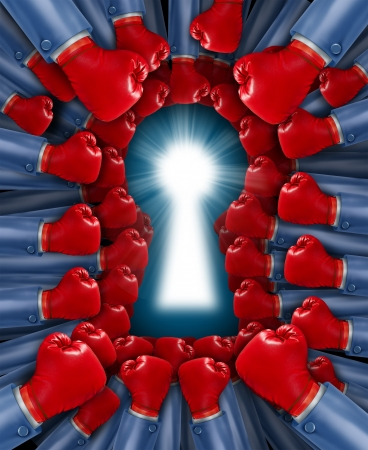 teaming up: Competition key as a concept for a fight for the cure with an organized group of red boxing gloves fighting together to find a cure or solution shaped as a glowing lock hole  Stock Photo