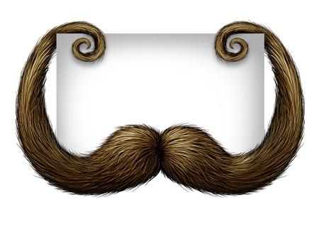 bigote: Padre concepto de signo en blanco con un bigote o bigote con copia espacio con una tarjeta de blanco como símbolo de la paternidad en padre Foto de archivo