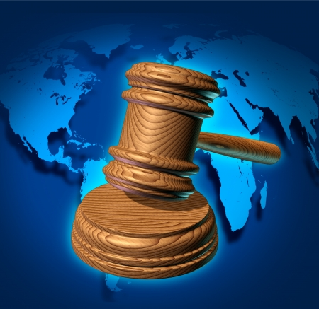 business law: Global law and international business justice system with a judge gavel or mallet making a judgement based on government regulations with a world map in the background