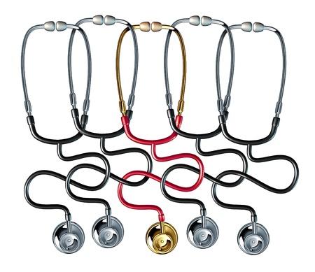 chainlinked: Medische gemeenschap met een groep van drie dimensionale stethoscoop keten met elkaar verbonden als een gezondheidszorg symbool van een georganiseerd samenwerkingsverband van artsen workig samen delen van het ziekenhuis medische dossiers en nieuw wetenschappelijk onderzoek