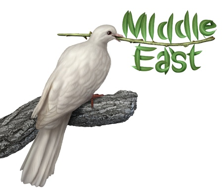 Middle East peace plan and diplomacy concept with a white dove holding an olive branch with the leaves in the shape of the word photo