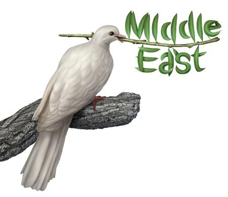 rama de olivo: Plan de paz en Oriente Medio y el concepto de la diplomacia con una paloma blanca que sostiene una rama de olivo con las hojas en forma de la palabra