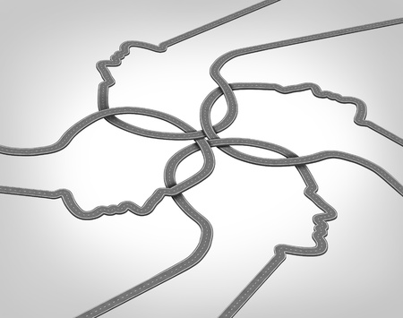 merging together: Network team business concept with a group of merging roads and highways shaped as a human head converging and coming together connected as a community partnership tat are crossing paths