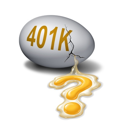 financial questions: Retirement savings questions as a broken cracked egg with the word 401k that is leaking the yolk shaped as a question mark as a financial and business concept of the challenges of saving money for when you retire