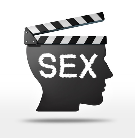 sex education: Sex movies and erotic film concept with a movie equipment clapboard shaped as a human head representing the sexual entertaimment film industry  Stock Photo