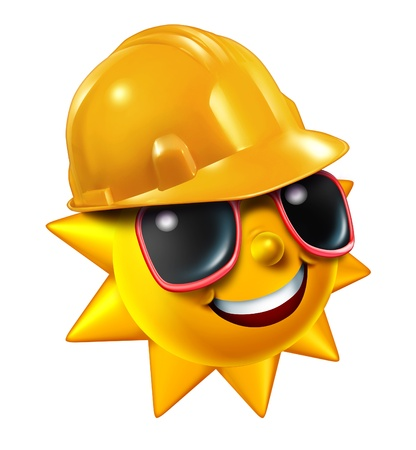 cartoon summer: Summer construction and renovation work projects in the hot season as a happy sun character with sunglasses wearing a yellow worker protective hard hat isolated on a white background