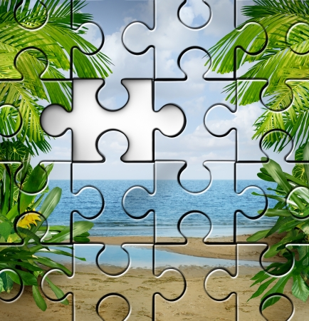 incomplete: Vacation planning and finding travel tips as an incomplete jigsaw puzzle with a tropical summer beach scene for a fun family holiday in the sun or a retirement relaxation plan