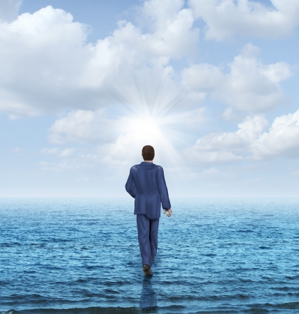 leadership potential: Walk on water with a businessman walking on the surface of an ocean as a business concept of confidence and courage to take on an impossible challenge and achieve success with the power of belief