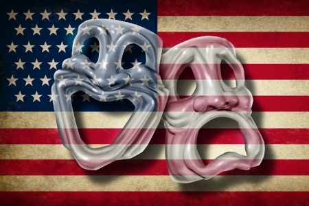 american media: American theatre and Broadway performing arts concept with an old flag of the United States on a comedy and tragedy mask representing the rich cultural tradition of classical cinema and movie making in America
