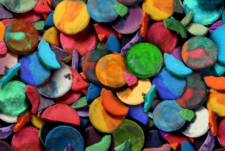 Art paint concept background as a group of old used water color pucks as an arts and crafts school and creative education idea for children and students to discover and express their creativity