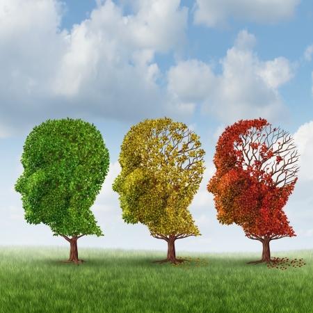 psicologia: Envejecimiento cerebral y pérdida de memoria debido a la demencia y el Alzheimer Foto de archivo