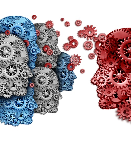 Business training group organization as a company team of students learning from a mentor in red sharing a common strategy and vision for education success as gears and cogs shaped as a human head on a white background