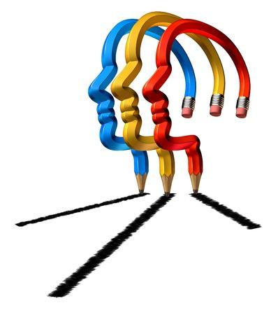 бизнес: Успеха сотрудничества с бизнес-группой совместно планировать выигрышную прибыльную стратегию роста в виде трех карандашей в виде человеческой головы рисования стрелкой вверх на белом фоне Фото со стока
