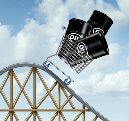 global investing: Falling oil prices and plunging fuel costs as a group of oil barrels or steel drum containers in a shopping cart going down on a roller coaster as a business concept of low energy pricing and the unstable nature of commodities  Stock Photo
