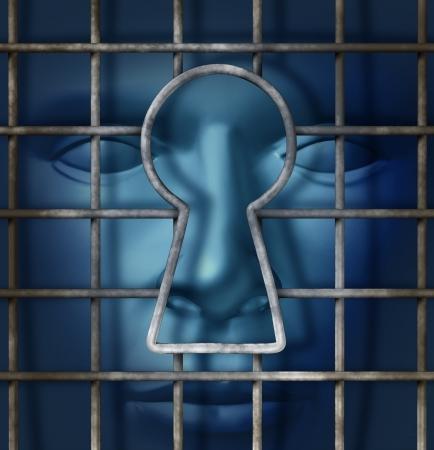 key to freedom: La libertad individual y el concepto de la libertad de pensamiento como una jaula de metal con un agujero de la llave abierta y una cabeza humana de espera en la sombra como s�mbolo de la huida de la esclavitud como una soluci�n para seguir adelante