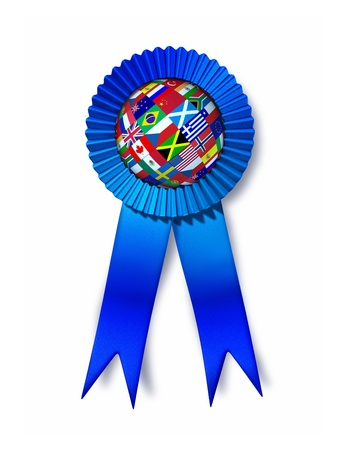 Global success award with a silk blue ribbon prize and a sphere with flags from Europe Asia Africa and America as a business concept for international investing and reaching strategic financial goals on a white background