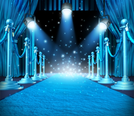 In the spotlight and center of attention or limelight with blue glowing lights on stage as a concept for entertainment with roped barriers and cyan glowing light with shiny sparkles as an important show event background