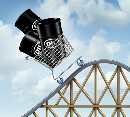 Rising oil prices with a group of oil barrels or steel drum containers in a shopping cart going up on a roller coaster as a business concept of high fuel costs and the unstable nature of energy value
