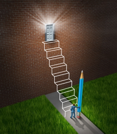 exito: �xito concepto de negocio de planificaci�n con un hombre de negocios la celebraci�n de un l�piz que ha dibujado un boceto de un futuro planificado escalera con escalones que llevan a una puerta que brilla intensamente como una manera de construir un puente a la oportunidad