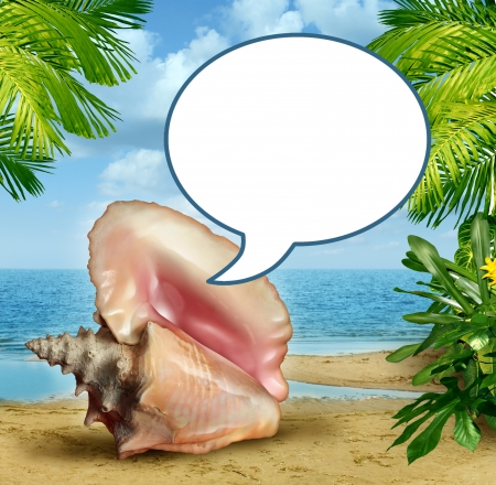 Beach talk message and travel tips or vacation guide with an ocean conch shell communicating with a blank word bubble on a sandy tropical scene with palm trees and sand Stock Photo - 20386522