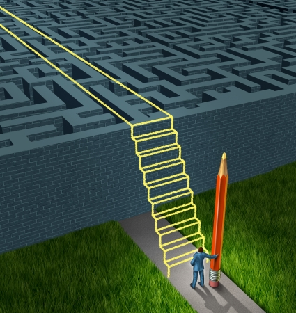 Business strategy solutions as a concept for financial planning to overcome a confusing maze or labyrinth with new thinking as a businessman holding a pencil creating a drawing of a stairway bridge over the obstacle