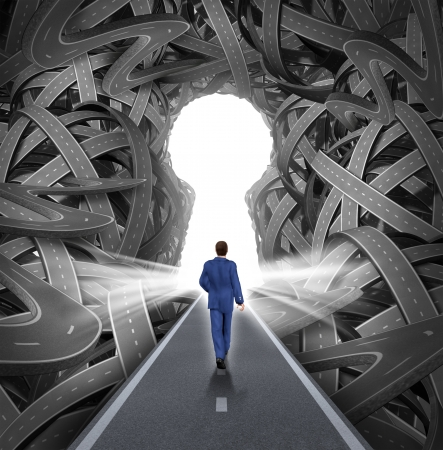 Direction solutions as a business leadership concept with a businessman walking to a glowing key hole shape opening as a straight path to success choosing the right strategic path cutting through a confused maze of tangled roads and highways  photo