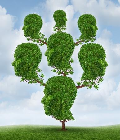 Stamboom en community-netwerk als een sociale en zakelijke relatie concept als een plant gevormd als een groep van verbonden menselijke hoofden groeien samen in een partnerschap voor succes op een hemel achtergrond