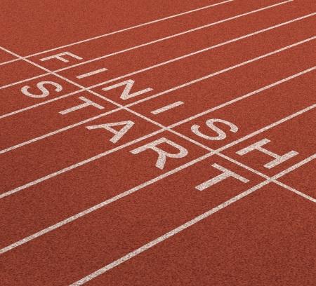 Fast track business concept als een reis van start tot de finish als een icoon van de snelle service en de planning op korte en lange termijn strategie voor succes met een track en veld in een sportstadion