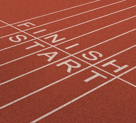 Fast track business concept as a journey from start to the finish line as an icon of quick service and planning a short and long term strategy for success with a track and field in a sports stadium
