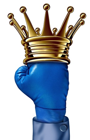 Fighting champion business concept with a gold crown on a blue boxing glove belonging to a businessman representing the competition idea of a winning strategy from a strong leader  photo