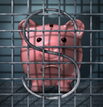 sentenced: Financial crime and securities fraud business concept with a piggy bank character in a prison jail cell with a dollar sign symbol in the metal cage bars as an icon of justice for criminal finance activity
