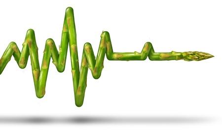 좋은 음식을 먹고 흰색 배경에 인간의 건강과 체력을 위해 몸을 운동의 의료 기호로 ECG 또는 EKG 라이프 라인의 모양에 아스파라거스 야채와 함께 건강