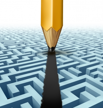 expertise concept: Intelligent planning and solving a problem and finding the best creative solution to a complicated and complex three dimensional maze with a clear shortcut path created by drawing a line on a labyrinth with a pencil  Stock Photo