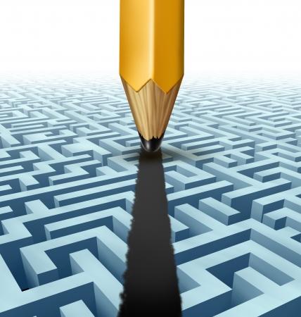 Intelligente planning en het oplossen van een probleem en het vinden van de beste creatieve oplossing voor een ingewikkelde en complexe driedimensionale doolhof met een duidelijke snelkoppeling pad gecreëerd door het tekenen van een lijn op een labyrint met een potlood