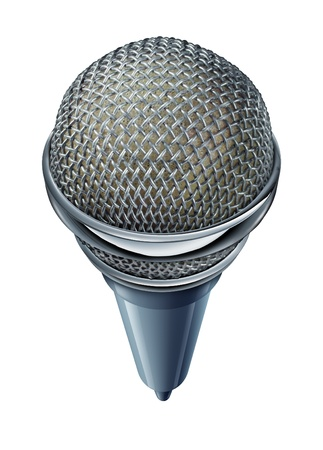 forced perspective: Microphone or mic isolated on a white background as a symbol of entertainment and communication during a show or seminar with sound equipment in a  frontal view and forced perspective